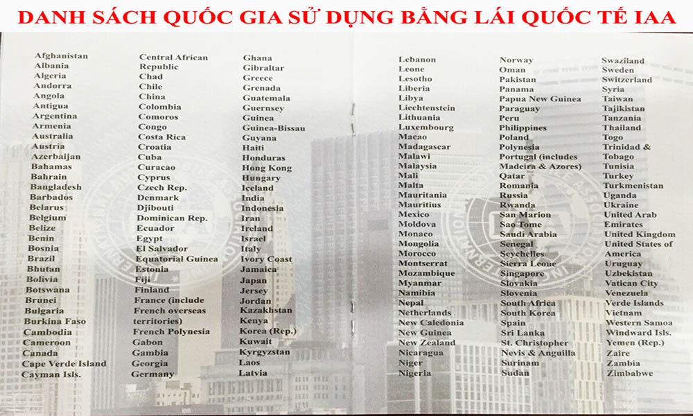 Danh sách quốc gia chấp nhận bằng IAA