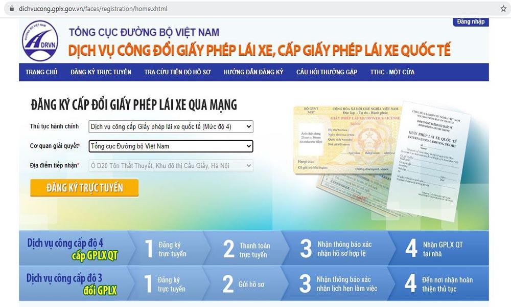 Đổi bằng lái xe online tại website Tổng cục Đường bộ