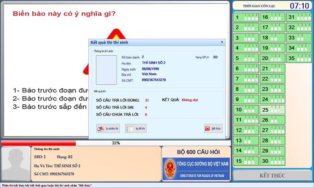 Phần mềm cho kết quả ngay sau khi nộp bài