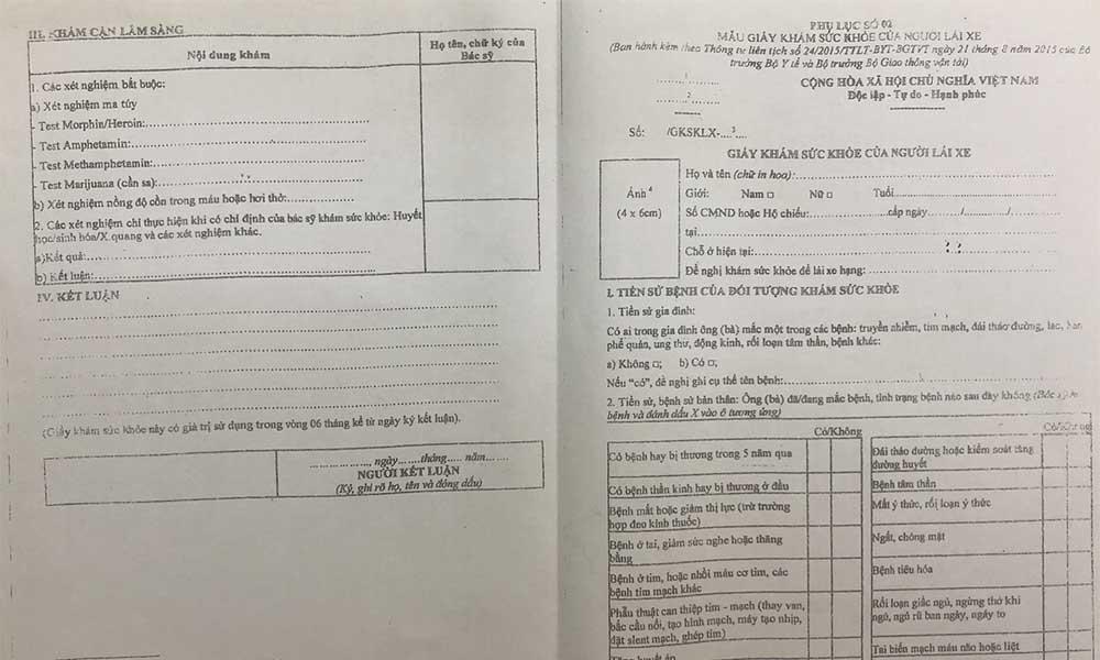 Mẫu giấy khám sức khỏe lái xe ô tô B2